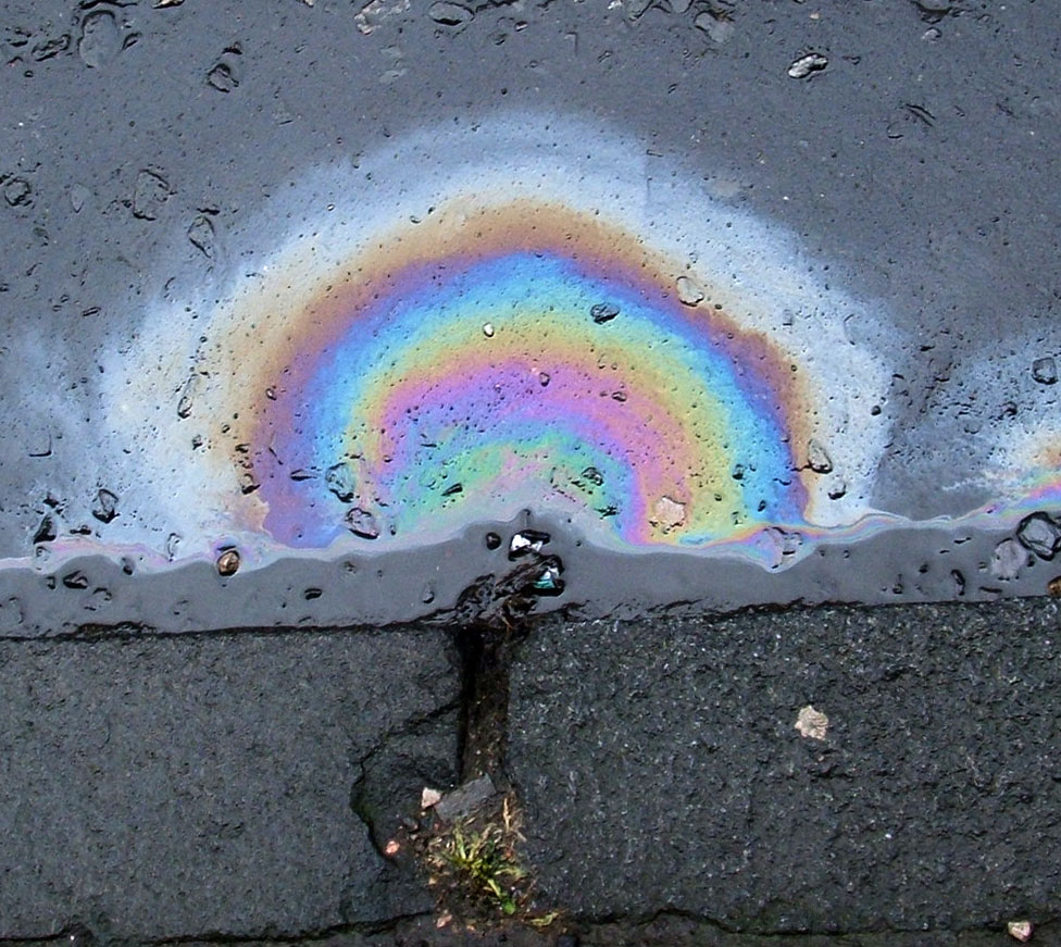 Diesel fuel spill causes Thin Film Interference